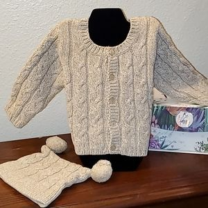 Children's Place Cardigan Sweater and Cap
